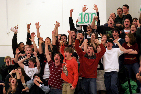 Manchester: Manchester Essex fans cheer as Joe Mussachia scores his 1,000th point on a free throw during their game against Wilmington last night. Photo by Kate Glass/Gloucester Daily Times