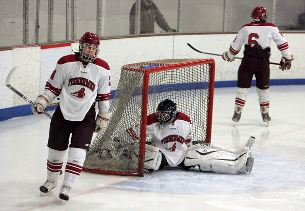 Gloucester: Gloucesters Coltyn Rivas, left, and Vincenzo Terranova turn away after Swampscott scored a goal past goalie Jason Brooks during the second period of the hockey game at Dorothy Talbot Rink Saturday night. Mary Muckenhoupt/Gloucester Daily Times