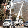 Gloucester: Utility crews repair lines along Thatcher Road yesterday afternoon. Photo by Kate Glass/Gloucester Daily Times
