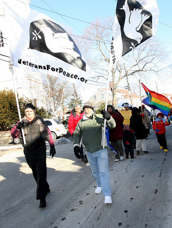 Rockport: John Schuchardt, left, and Paul Saint Amand, right, lead the 23rd Annual Martin Luther King Jr. Walk yesterday, which is organized by the Rockport Unitarian Universalist Church. Photo by Kate Glass/Gloucester Daily Times