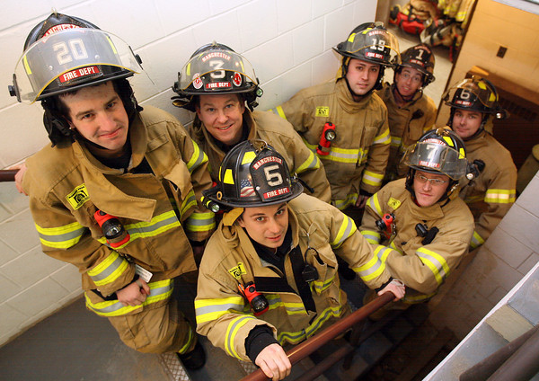 """Manchester: Manchester Firefighters (from left) Tom Aldrich, Jon Happel, Josh Butler, Kyle Benson, Dennis Pyburn, Mike Soucy, and Bob Cavender will be participating in the """"Fight for Air Climb,"""" a fundraiser for the American Lung Association, on February 5th in Boston. The firefighters will climb 789 stairs with complete gear and have raised over $1,000 for the cause so far. Photo by Kate Glass/Gloucester Daily Times"""