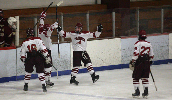 Gloucester: Gloucester's John Interrante celebrates his shorthanded goal with his teammates during the first period of their game against Newburyport at the Talbot Rink last night. Photo by Kate Glass/Gloucester Daily Times