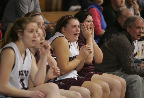 Rockport: Members of the Rockport girls basketball team react as Essex Aggie takes the lead in the basketball game held at Stephen Rowell gymnasium Wednesday afternoon. Mary Muckenhoupt/Gloucester Daily Times
