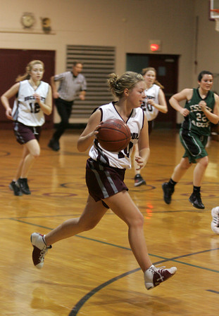 Rockport: Allie McManus dribbles the ball down the court during the basketball game held at Stephen Rowell gymnasium Wednesday afternoon. Mary Muckenhoupt/Gloucester Daily Times