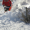 Rockport: John Jordan clears the sidewalk in front of the Rockport Senior Center on Broadway Thursday afternoon. Mary Muckenhoupt/Gloucester Daily Times