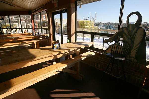 Gloucester: Patrons of the new Cape Ann Brewing Co. pub can enjoy a view of the working waterfront at St. Peter's Square. Photo by Kate Glass/Gloucester Daily Times