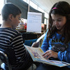 "Gloucester: Marc Smith and Bianca Costa ask each other questions after reading from ""That's Determination"" as part of the new reading curriculum at Beeman Memorial Elementary School. The students are in 4th grade. Photo by Kate Glass/Gloucester Daily Times"