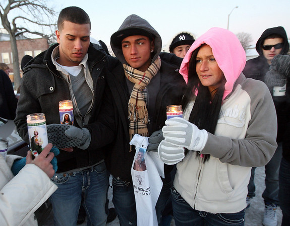 Gloucester: Marcus Vialpando, Matt Pereira, and Lauren Cohn gather with friends and family to remember Nate Holscher, who died in a car accident on Route 128 over the weekend. Photo by Kate Glass/Gloucester Daily Times