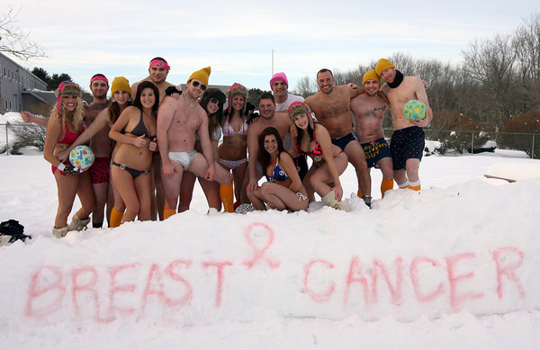 Essex: The winning teams of the Bikini and Speedo Dodgeball Tournament at the Farm Bar & Grille in Essex on Saturday. The pink team finished first, blue team second, and yellow team third. The event raised over $500 for breast cancer research and the restaurant hopes to make the fundraiser an annual event. Photo by Kate Glass/Gloucester Daily Times