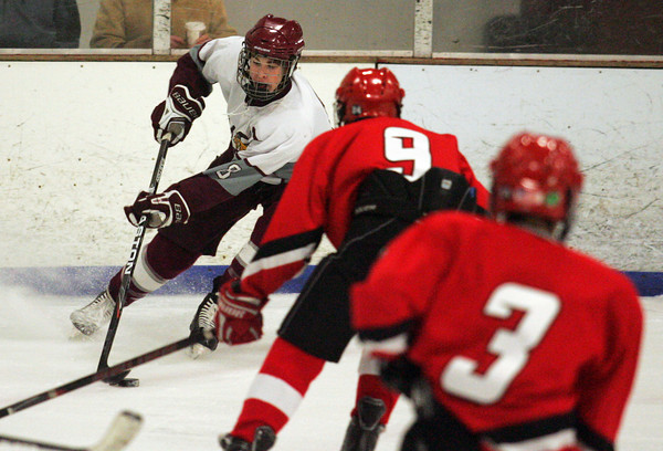 Gloucester: Rockport's Cam Smith takes possession of the puck as the Vikings take on Amesbury at Dorothy Talbot Rink Wednesday night. Mary Muckenhoupt/Gloucester Daily Times