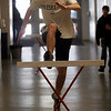 Manchester: Sam Cushing practices hurdles in the hallway outside the gym during track practice at Manchester Essex High School yesterday. Photo by Kate Glass/Gloucester Daily Times