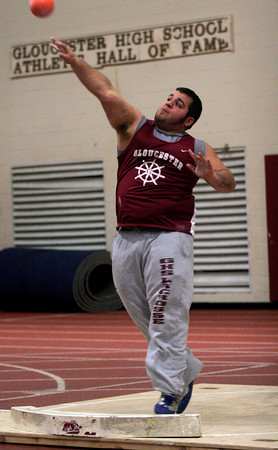 Gloucester: Gloucester's Andrew Porper won the shotput with a throw of 41 feet 5 inches during their meet against Marblehead in at the Benjamin A. Smith Fieldhouse yesterday. Photo by Kate Glass/Gloucester Daily Times
