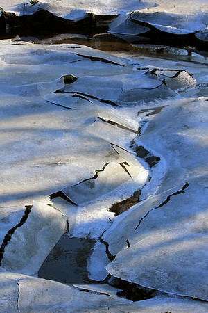 ALLEGRA BOVERMAN/Staff photo. Gloucester Daily Times. Manchester: Ice formation on Bennett Brook in Manchester.