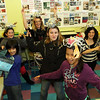 ALLEGRA BOVERMAN/Staff photo. Gloucester Daily Times. Gloucester: Dancing around the visual arts classroom are from left, in front row, Julian Mendoza and Moriah Murphy-Thornley, seventh graders; from left, in back row, seventh grader Laney Lavelle, sixth grader Gianna Cabral, teacher Shay Cajolet, seventh graders Shannon Kelly, Jaelyn Martinez and sixth grader Michaela Jones.<br /> <br />  at the Gloucester Community Arts Charter School on Tuesday. The lawsuit against the state and the school was summarily dismissed.