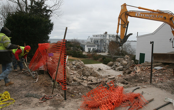 ALLEGRA BOVERMAN/Staff photo. Gloucester Daily Times. Rockport: The home at 129 Granite Street has been demolished. Workers were still at the property on Thursday afternoon.