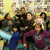 ALLEGRA BOVERMAN/Staff photo. Gloucester Daily Times. Gloucester: Dancing around the visual arts classroom are from left, in front row, Julian Mendoza and Moriah Murphy-Thornley, seventh graders; from left, in back row, seventh grader Laney Lavelle, sixth grader Gianna Cabral, teacher Shay Cajolet, seventh graders Shannon Kelly, Jaelyn Martinez and sixth grader Michaela Jones. at the Gloucester Community Arts Charter School on Tuesday. The lawsuit against the state and the school was summarily dismissed.