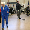 "ALLEGRA BOVERMAN/Staff photo. Gloucester Daily Times. Gloucester: The Good Ole Salty Jazz Band performs every Monday afternoon at 1 p.m. at the Rose Baker Senior Center in Gloucester. As Henry Allen sang, center, Gloria Gallo of Lynn, lar eft, and Evelyn ""Chick"" Nelson of Rockport danced."
