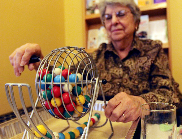 ALLEGRA BOVERMAN/Staff photo. Gloucester Daily Times. Rockport: Lydia Souza is the bingo caller every Monday at from 1 p.m. - 3:30 p.m. at the Rockport Council On Aging Senior Center at Community House.