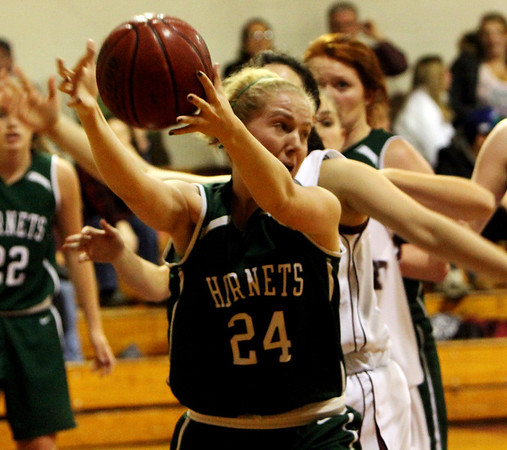 ALLEGRA BOVERMAN/Staff photo. Gloucester Daily Times. Rockport: Manchester Essex's Ally Conway in action against Rockport at Rockport on Tuesday evening.