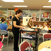 ALLEGRA BOVERMAN/Staff photo. Gloucester Daily Times. Gloucester: Regina Sargent's third grade class has relocated temporarily to the library while her classroom's heat and various burst pipes are repaired. They were learning about perimeters, areas and angles on Thursday afternoon.