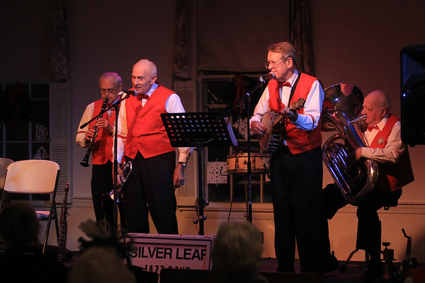 JIm Vaiknoras/Gloucester Times: The Silver Leaf Jazz Band perform Dixieland jazz at the Congregational Church during New Years Rockport Eve.