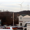 Allegra Boverman/Gloucester Daily Times. The three turbines in Gloucester as seen from Wells Street.