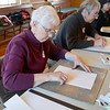"Jim Vaiknoras/Gloucester Daily Time: Gerre Wescott and Babette Brackett begin their sketches in Carla Mattioli's class ""Light, Shadow & Color Prismatics"" at the Rockport Senior Center Tuesday. About a dozen artists attended the class , which runs weekly till Feb. 19th."