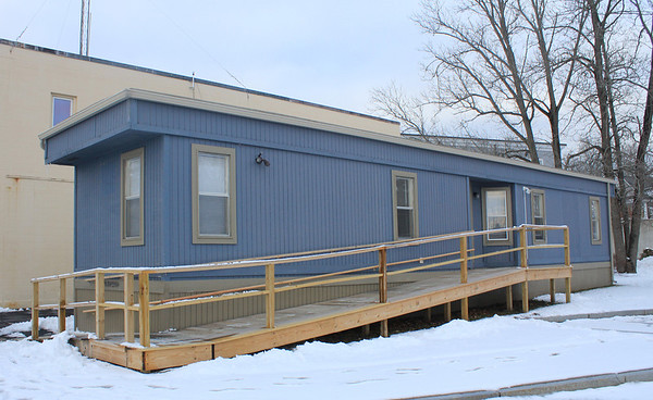 Jim Vaiknoras/Gloucester Times: The trailer that will be housing police offices behind the police station in Essex.