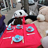 Allegra Boverman/Gloucester Daily Times. Susan Parent, left, owner of Toodeloos! in downtown Gloucester, is relieved that her trio of tea-drinking bears that daily sit in front of her Main Street store is complete again. The panda, Kevin, second from eft, the baby bear of the group, is back safely after being stolen on Saturday. At right  and far right are Lulu and Michelle, the mama and papa bears.