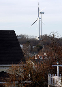 Allegra Boverman/Gloucester Daily Times. The three turbines in Gloucester as seen from Gloucester Marine Railways in Rocky Neck.