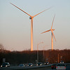 Allegra Boverman/Gloucester Daily Times. Two of the turbines as seen from the Route 128 Extension just before Blackburn Circle.
