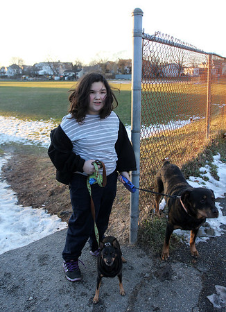 Allegra Boverman/Gloucester Daily Times. About $345,000 has been set aside to rebuild and revitalize Burnham's Field. Kaylee O'Neil, 10, who lives a couple blocks away, along with her brother, have started walking their dogs in the park recently and would like the grass cleaned up. She's with their dogs Trisha, 7, left, and Tasha, 10.