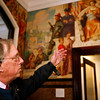 Allegra Boverman/Gloucester Daily Times. Peter Williams of Peter Williams Museum Services of Boston, talks about the murals in City Hall that are undergoing restoration by him and his team for the next three weeks.