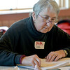 "Jim Vaiknoras/Gloucester Daily Time: Babette Brackett begins sketching in Carla Mattioli's class ""Light, Shadow & Color Prismatics"" at the Rockport Senior Center Tuesday. About a dozen artists attended the class , which runs weekly till Feb. 19th."