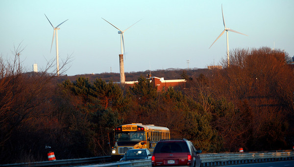 Allegra Boverman/Gloucester Daily Times. The turbines as seen from the A. Piatt Andrew Bridge in Gloucester.