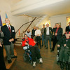 Allegra Boverman/Gloucester Daily Times. During the unveiling of various Americans with Disabilities Act improvements at the Unitarian Universalist Church in Gloucester on Wednesday in the historic Meeting House room. At far left is minister Wendy Fitting, with restoration committee chair Charles Nazarian. In wheelchairs, in front from left are Joe Randazza and church member Larry Brooks.