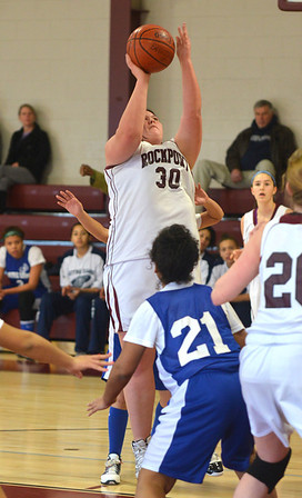 Jim Vaiknoras/Gloucester Daily Times: Rockport's  Kayla Parisi shoots a jumpshot during the Viking's game against Notre Dame Monday at Rockport High.