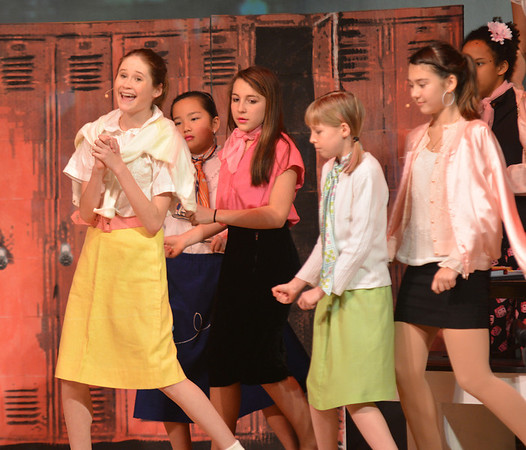 """Jim Vaiknoras/Gloucester Daily Time: Sophie Trumbur as Sandy  sings """"Summer Lovin"""" in the Rockport Middle School Production of Grease. Performances are Thursday, Friday, and Saturdat at 7pm and Sunday at 2pm at the John E. Lane Performing Art Center at Rockport High."""