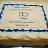 Allegra Boverman/Gloucester Daily Times. A cake commemorates the unveiling of various Americans with Disabilities Act improvements at the Unitarian Universalist Church in Gloucester on Wednesday.