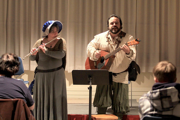 JIm Vaiknoras/Gloucester Times: Renaissance story tellers Bumbly and Abyss Phinn sing songs and tell medieval tales at the Rockport Library during New Years Rockport Eve.
