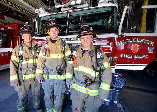 """Jim Vaiknoras/Gloucester Daily Times: Gloucester firefighters Chad Mota, Kevin Gargan , and Nick Oullette will be participating in the """"Fight for Air Stair Climb' in Boston to raise money for the American Lung Association in mermory of their friend and fellow firefighter Mike Smith who died of lung cancer last summer."""