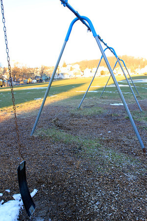 Allegra Boverman/Gloucester Daily Times. About $345,000 has been set aside to redevelop and revitalize Burnham Field. These are the swingsets.
