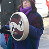 Jim Vaiknoras/Gloucester Daily Times: Anita Pandelfe Ruchman plays the drum as marches in the 25th annual Martin Luther King jr march at the Unitarian Universalist Church in Rockport Monday morning. Anita's daughter Lily Ruchman started the march 24 year ago.