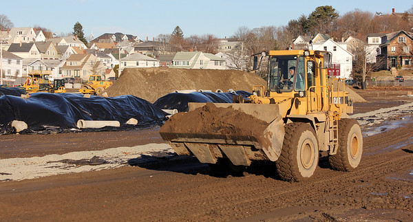 Allegra Boverman/Gloucester Daily Times. The renovation work on Newell Stadium continues at Gloucester High School.