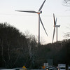 Allegra Boverman/Gloucester Daily Times. Two of the turbines as seen from Eastern Avenue at its intersection with the Route 128 Extension.