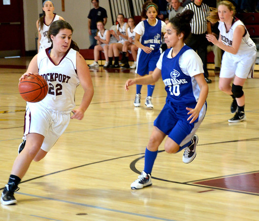 Jim Vaiknoras/Gloucester Daily Times: Rockport's Heather MacAthur drives to the basket during the Viking's game against Notre Dame Monday at Rockport High.