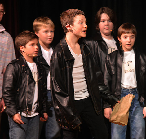 """Jim Vaiknoras/Gloucester Daily Time: John Altman as Danny sings """"Summer Lovin"""" in the Rockport Middle School Production of Grease. Performances are Thursday, Friday, and Saturdat at 7pm and Sunday at 2pm at the John E. Lane Performing Art Center at Rockport High."""