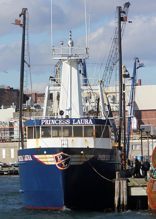 Allegra Boverman/Gloucester Daily Times. The Princess Laura, a groundfishing trawler, moored on Thursday morning at the state fishing pier in Gloucester.