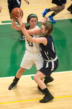 Desi Smith Staff photo/Gloucester Daily Times.   Hamilton-Wenham's Haley Willis gets an elbow to the face defending Manchester Essex's Sydney Christopher Monday night at Manchester High School.  January 27,2013.