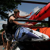 Tim Corsetti ties up the kayaks after a day on the water with the Essex River Basin Adventures on Wednesday afternoon. Photo by Maria Uminski/ Gloucester Daily Times